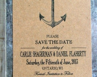 nautical save the dates, anchor save the date cards, vintage beach wedding