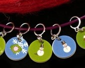 Holidays in the SNOW - set of 7 stitchmarkers for KNITTERS or CROCHETERS