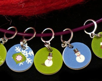 STITCHMARKERS for KNITTERS or CROCHETERS, Holidays in the Snow