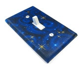 electric blue Dark Blue Stargazer Light Switch Cover Galaxy Star Swirl Outer Space Bedroom Decor Outerspace