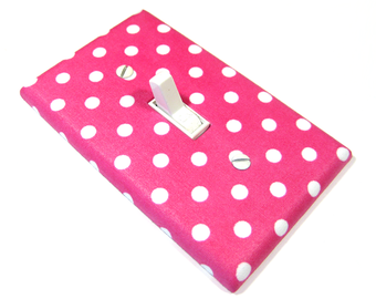 Hot Pink and White Polka Dots Light Switch Cover Girls Bedroom Decor Light Switchplate Cover 1627