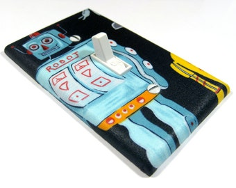 Retro Robot Light Switch Cover Geek Nursery Decor Home Office Geekery Switchplate Switch Plate