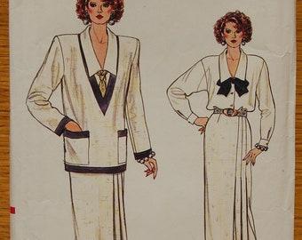 "1980s vintage original Vogue sewing pattern ladies jacket, skirt and blouse Bust 34"""