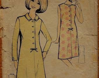 "1960s vintage Le Roy original sewing pattern women's button-front dress Bust 34"""