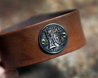 New York State Quarter Leather Cuff Bracelet