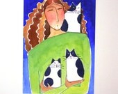 Kitten Cat Art / Cat Lady Limited Edition Giclee Print by Susan Faye