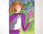 Butterfly Cat Lady Art/ Limited Edition Giclee Print by Susan Faye