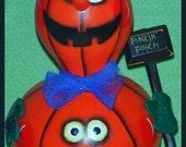 Hand Painted Halloween Jack O Lantern Man Gourd hp pumpkin prim chick ofg JACK