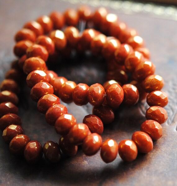 Last Listing - 10 Ground Cinnamon - Czech Glass Rondelle Beads