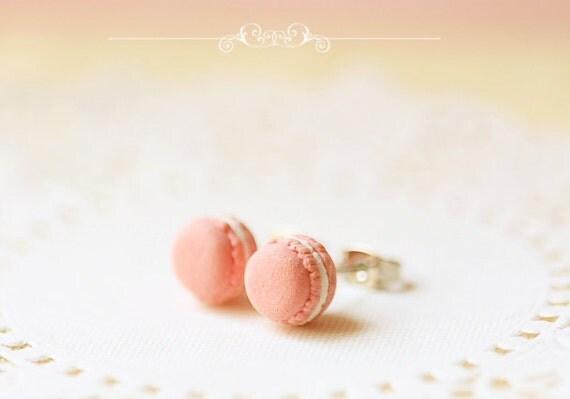 Food Jewelry - Sweet Pink Macarons Earrings