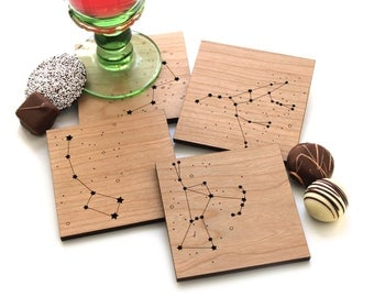 Wood Coasters - Star Constellations - set of 4 - night sky, hostess gifts, under 30, gifts for star gazers, astronomy gifts