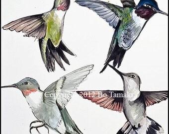 Hummingbirds in Flight archival print 5 x 5 blank card