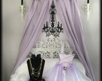 Upholstered Bed Crown Canopy Padded Princess White Lavender SaLe