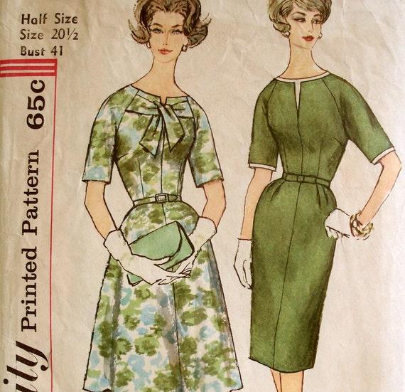 Vintage 1960s Dress Pattern Simplicity 3757 Bust 41 Plus Size Petite