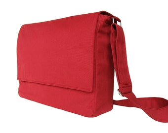 Red Messenger Bag 13 inch - The Minima in Ruby