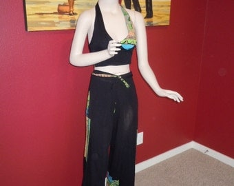 "Vintage 90's Women's Halter Set Top & Wrap Tie Pants Black with Multi Colored Design Style -One Size Bust 32""- 40"""