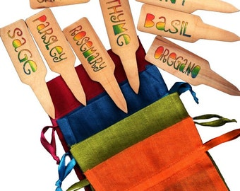 Herb Garden Plant Pot Markers - 10 Funky Rainbow2 w/ Gift Bag, Your Choice of Color