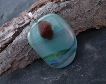 SALE. Upcycled Blown Glass Pendant Sky Blue and Rainbow Pastel. 2 in. FP-26