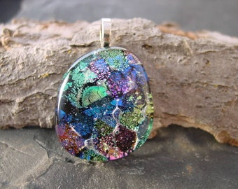 SALE. Rainbow Mosaic. Handcrafted Fused Dichroic Glass Pendant.  32mm x 27mm. FP-30