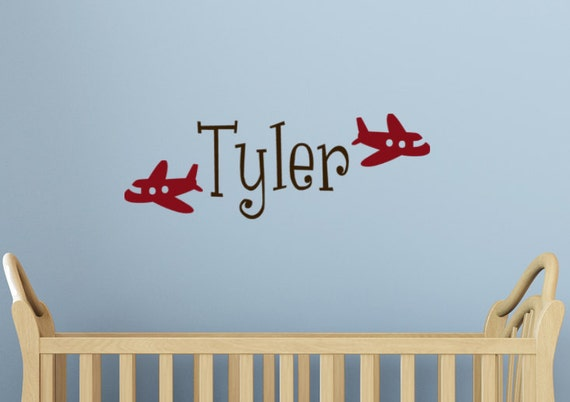 Airplane wall decal Art baby Boy Name personalized childrens Jetplane wall art graphic sticker words bedroom decor
