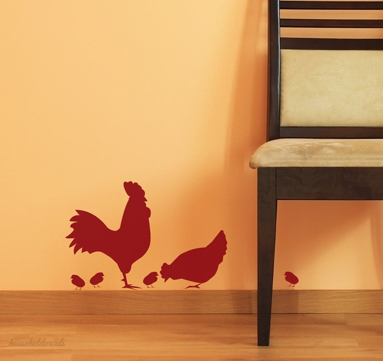 Kitchen wall decal rooster decal chicken wall by - Rooster wall decor kitchen ...