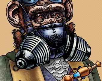 "Xander Tiberius Crushington 8"" x 10"" Steampunk Monkey Nation matted print- Whimsical Monkey Art"