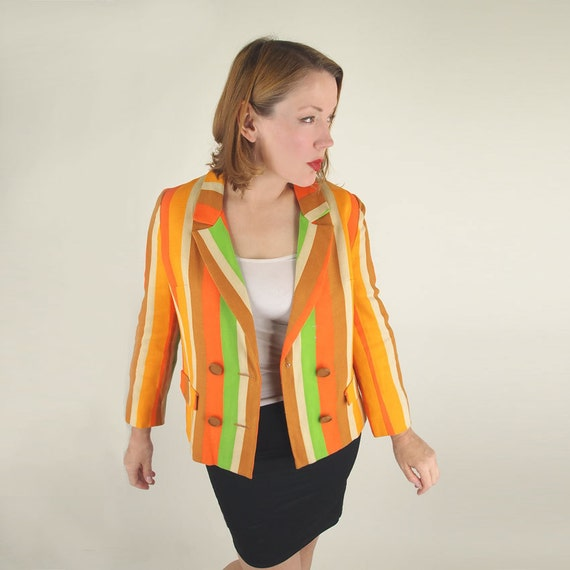 60s Mod Orange and Green Stripe Linen Blazer Jacket M
