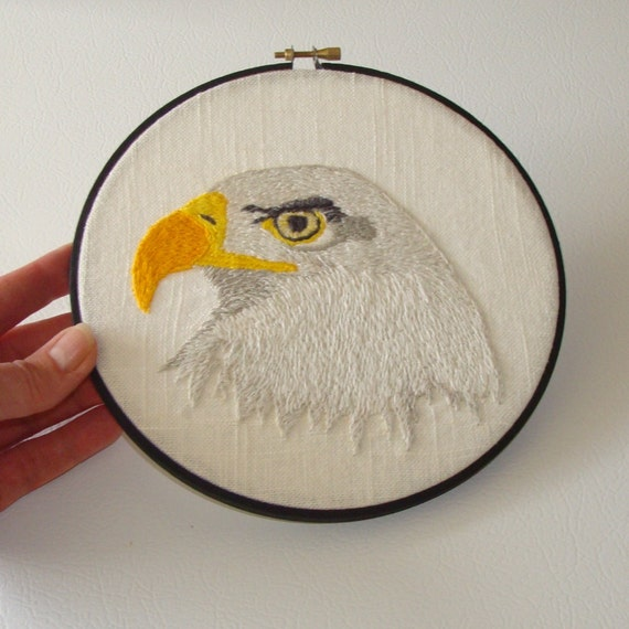 "50% Off Sale - Bald Eagle Hand Embroidered Wall Art - 10"" Hoop - Home Decor - Gifts under 20"