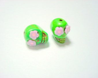 Green and Lavender Flower Eyes in Day of The Dead Sugar Skull Beads-12mm
