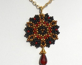 Beadwoven Single Mandala Necklace / Madeira Garnet Briolette / Gold-Filled Chain/ Winter/ Noir/ Dramatic/ Elegant/ Exotic- - - Dechen
