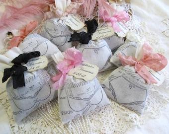 Lingerie Shower Favor Lavender Mini Sachet French w/custom tag - Set of 6 - Choose Ribbon Color - Bras & Panties- Bachelorette Bridal Shower