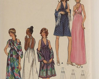 Vintage 70's Sewing Pattern, Misses Evening Dress and Shawl, Size 10