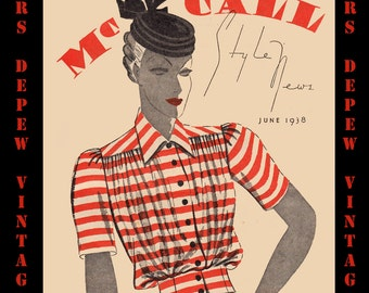 Vintage Sewing Pattern Catalog Booklet McCall Style News June 1938 PDF Digital Copy -INSTANT DOWNLOAD-