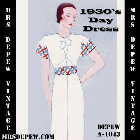 Vintage sewing pattern 1930 s dress with collar ties in any size depew