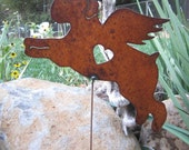 Rusty Finish Metal Garden Art Schnauzer Dog Angel Memorial Yard Stake