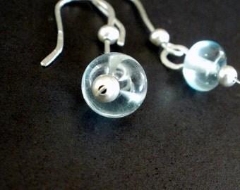 Sweet Drops - Sterling Silver and Aqua Lampwork Earrings