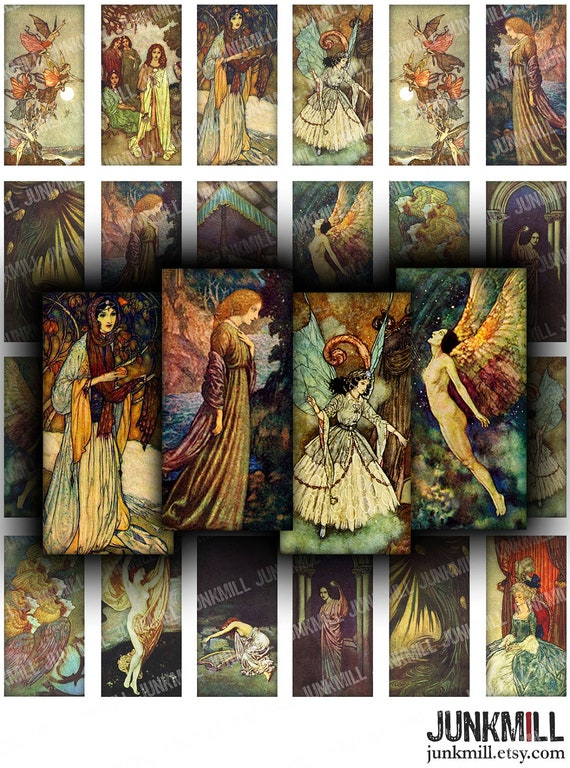 "EDMUND DULAC - Digital Printable Collage Sheet - Gothic Medieval Fairy Tale Illustrations, 1"" x 2"" Domino Tile, Instant Download"