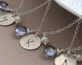 Set of 3 Large Initial Tag Necklaces, CHOICE of Gemstone and Pearl, Monogram, Letter, Bridesmaid Gift, Personalized Jewelry