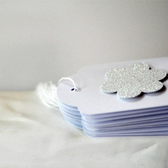 10 White Glitter Blossum Tags Threaded White