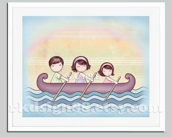 Family art nursery art, sea nursery decor, kids wall art, art for children decor, brown hair dad mom daughter row boat - Stronger brown