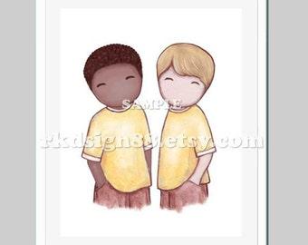 Adoption art nursery art print best friends art kids decor children art print African art - The Boys art 8 x 10 print