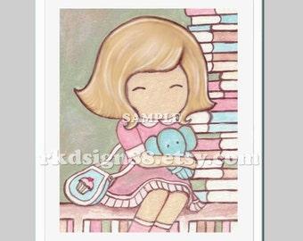 Nursery art girl, baby gift, baby girl nursery decor, kids wall art, library art, back to school, read books, blonde, Balance