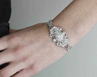 Bridal Bracelet, Vintage Style Pearl and Rhinestone Cuff Bracelet, Art Deco Wedding Jewelry, MARCELLA CUFF