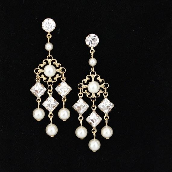 Gold Wedding Earrings Small Chandelier Bridal Earrings Ivory Pearl Swarovski Crystal KATRINA