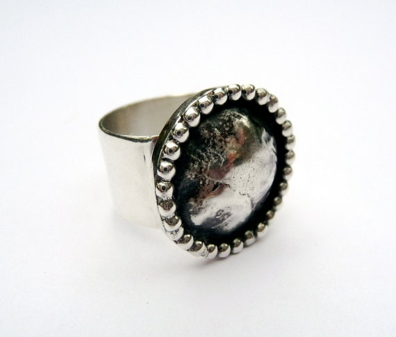 SALE bold sterling silver bubble ring was 94.00