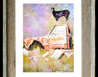 "Goat Chevy Truck Art ""Chevrolet Half Ton Goat"" Barn Wood Framed/Matted Signed and Numbered"