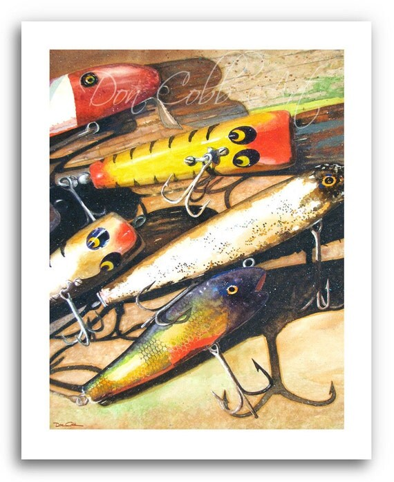Fishing lure art vintage lures prints signed and for Fishing lure paint