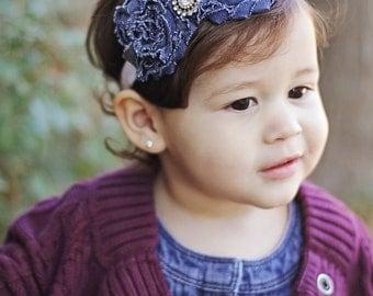 Baby Girl Headband Bows, Newborn Headbands Baby Girl Hair Bows, Shabby Denim Flower Headband, Shabby Chic Headbands, Newborn Photo Props