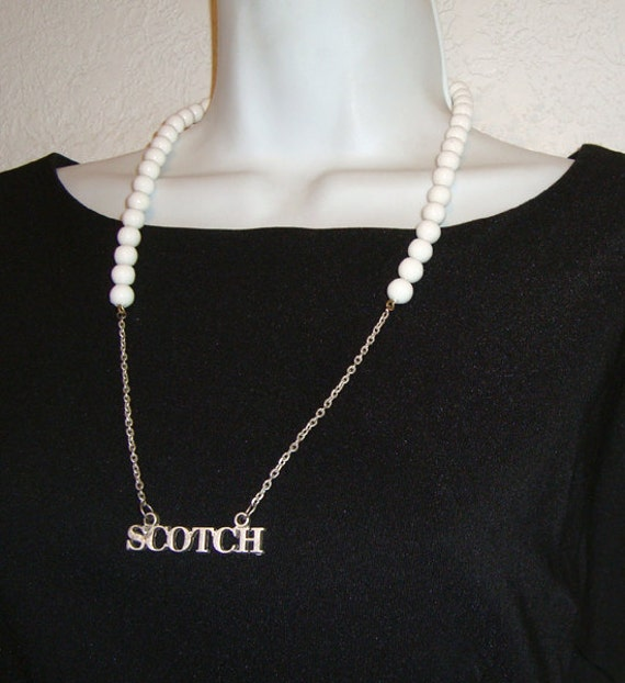 Scotch, White Bead Booze Label Necklace