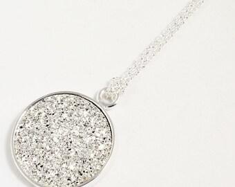 Bright Silver Pendant Agate Druzy Necklace Titanium Druzy Pendant Gemstone Necklace Silver Bezel Fine Druzy Jewelry Drusy FD-P-105A-S/s